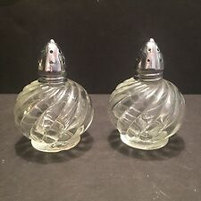 Salt & Pepper Shakers, Irice, Glass, Silver Tops, 1950's Vintage