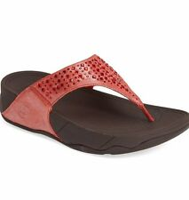 NEW FITFLOP WOMEN Sz7US NOVY STONES SHIMMER SANDALS LEATHER FLAME