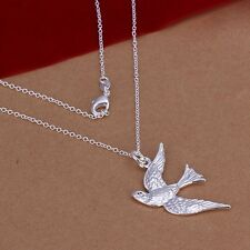 New .925 Sterling Silver Bird In Flight Pendant Necklace Bridal FREE SHIPPING