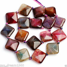 Rare 18mm Square Faceted Multicolor Dragon Veins Agate Onyx Loose Beads 15""