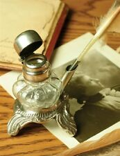 """Victorian Trading Co. Emily Dickinson's Inkwell & Quill Pen 3"""" Free Ship NIB"""