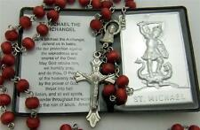 MRT St Saint Michael Gift Set Lot Prayer Folder Car Visor Metal Plaque & Rosary
