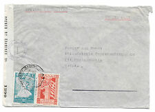 Greece Censored Cover WWII Air to US 1945 Sc 465 467 Censor Tape Examiner 1399