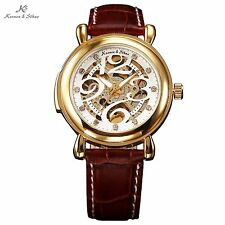 KS Royal Carving Gold Case White Dial Men Skeleton Leather Mechanical Watch