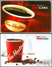 2x TIM HORTON 2007 2015 ONT. HOT FRESH COFFEE ENGLISH COLLECTIBLE GIFT CARD LOT