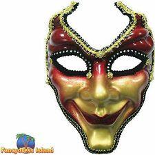 MASQUERADE RED GOLD FULL FACE MASK - mens womens fancy dress accessory