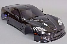 1/10 RC Car BODY Shell CHEVY CORVETTE 190mm  w/Light Buckets BLACK -FINISHED-