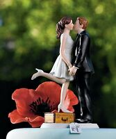 """A Kiss and We're Off!"" Wedding Cake Topper Custom Colors Available"