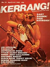 Gary Barden & Paul Raymond on Kerrang Magazine Cover 1982 No: 13    Randy Rhoads