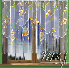 "String Net Curtain Monkeys Children Room W=114"" (290cm), L= 61"" (155cm) SLOT TOP"