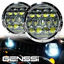 2x 7 in 75W PHILIPS LED Headlight Chrome DRL HIGH LOW BEAM For JEEP JK Wrangler
