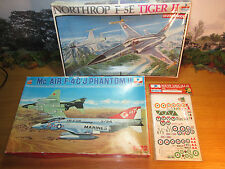 9FP LOT OF 2 ESCI 1/72 F4CJ PHANTOM II & 1/48 NORTHROP F5E TIGER II + ESCI DECAL