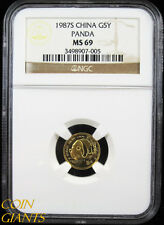 1987-S Gold China 5 Yuan Panda 1/20oz NGC MS69 Key Date Lustrous Mint State Coin