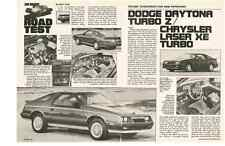 1984 DODGE DAYTONA TURBO Z - CHRYSLER LASER XE TURBO ~ 3-PG ROAD TEST / ARTICLE