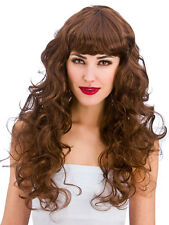 Brown Curly Long Foxy Wig Ladies Fancy Dress Celebrity Adults 80s Wig 1980s New