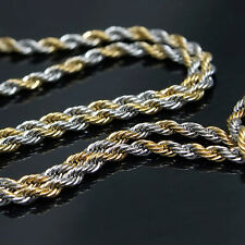 "New Mens Gold & Silver Tone Stainless Steel Rope 7mm 30"" Chain Necklace 105G"