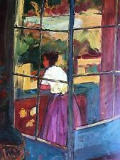 "Window View Hand Painted 20""x 24"" Art Oil Painting Signed"