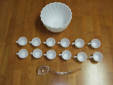 VINTAGE MILK GLASS PUNCH BOWL WITH 12 CUPS AND LADLE SWIRL
