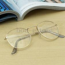 Gold Vintage Oval Transparent Eyeglass Spectacles Frame Retro Steel Legs Glasses