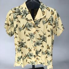 Womens TOMMY BAHAMA Yellow and Green Hawaiian Print Button Up Size Small