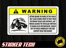 WARNING EXTREME 4WD 4X4 GO OFFROAD STICKER DECAL SIGN SUITS ROCK CRAWLER BUGGY