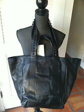 Valentino Garavani Rockstud Handle Black Nappa Leather Tote Bag Org$1215.00
