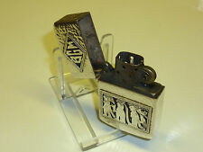 VINTAGE Antique 900 Silver Case & ZIPPO intarsio Petrol Lighter ww2 - 1950 RARE