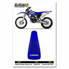 2006-2012 YAMAHA WR 450 F Blue/Black RIBBED SEAT COVER by Enjoy MFG