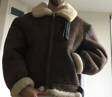 Vintage Avirex B3 Sherpa-Lined Sheepskin Leather Bomber Jacket - Size 46