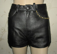 Superb Vintage Black Leather GIPSY Zip High Waist Studs Reworked Shorts Size S