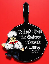 Black SKILLET FAT CHEF Today's Menu KITCHEN SIGN Wall Decor Cucina Bistro Plaque
