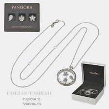Authentic Pandora Locket Necklace & Celestial Charms w/ BOX 590529-60,792020CZ