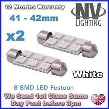 2x White 41mm 42mm Festoon 5050 6 SMD C5W Car Led Auto Interior Dome Door Light