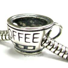 Sterling Silver Coffee Cup European Bead charm 15mm