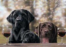 Labrador Negro Cachorro De Perro Animal Pintura amantes del vino Tarjeta De Cumpleaños