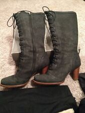 """UGG Australia """"Camille"""" Black High Heel Lace Up Side Zip Boots Size 10"""