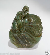 Fine Quality Chinese Antique Rough Carved Jade Shou Lao Carving / Figure