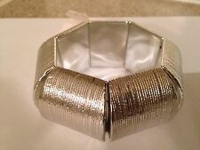 New York & and Company Co Silver Chunky Bangle Statement Bracelet NWT