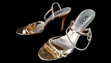 BCBG Paris womens 7.5 B 37.5 Gold leather strappy sandal heels cocktail clubwear