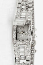 Vintage $20,000 10ct VS G Baguette Diamond Hamilton Platinum Ladies Watch 47g