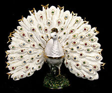 White Peacock Jeweled Pewter Trinket or Jewelry Box Wildlife home decor
