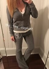 Victoria Secret Pink Bling Sequin Gray Velour Hoodie Flare Pant Sweatpants Set S