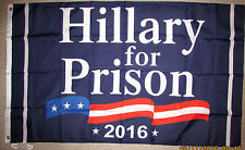 HILLARY FOR PRISON 2016 3x5 FEET FLAG BANNER Crooked Clinton Trump Election VOTE