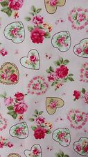 "VINTAGE PINK ROSE FLEUR HEARTS cotton poplin fabric sold by the metre 45"" wide"