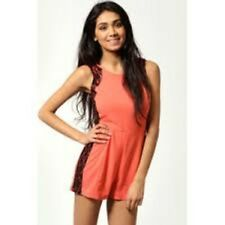 Livvy Lace Side Trim Illusion Style Playsuit Coral Size 14 Box1153 c