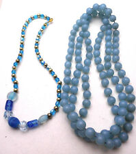 Vintage Lot of 2 Necklaces Blue Beads Pretty Long Bright Fun Crafts Silver Tone