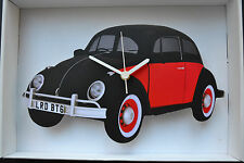 BLACK & RED VW BEETLE, WALL CLOCK, GREAT GIFT IDEA.