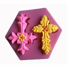 2 Cross Silicone Mould Baby Christening Baptism Religious Sugarcraft Cake Topper