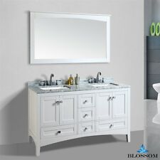 "BLOSSOM 60"" DUBAI DOUBLE SINK BATHROOM VANITY WITH MARBLE TOP, WHITE COLOR"