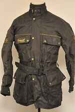 RARE VINTAGE BELSTAFF TRIALMASTER 500 MOTORCYCLE JACKET BLACK MEDIUM & BELT FC00